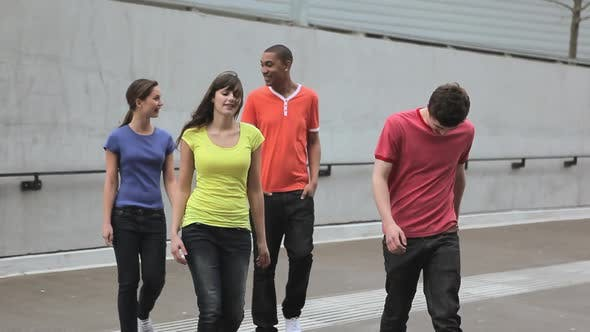 Thumbnail for Group of young adult friends walking