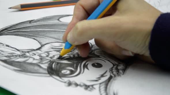 Artist Drawing Dragon Tattoo