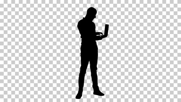 Thumbnail for Silhouette businessman standing, Alpha Channel