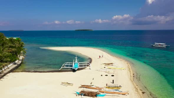 White Sand Beach and Boats. Tropical Island for Tourists, Top View.