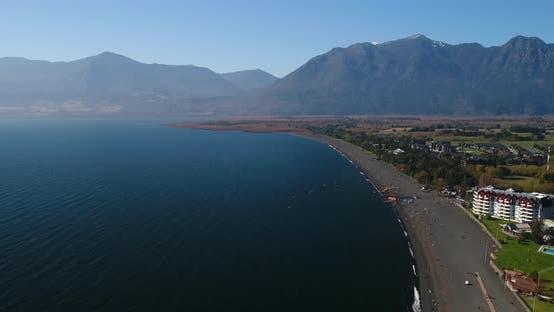 Aerial Beach Sandy Shoreline Lago Villarrica Chile