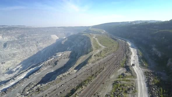 Thumbnail for Aerial View Railroads Ground Road at Asbestos Pit By Hills