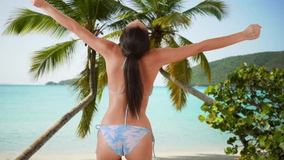 Thumbnail for A Latina girl dances on the palm tree covered beach