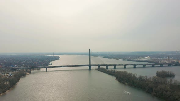 Bridge with Traffic Over the River Aerial Drone Footage