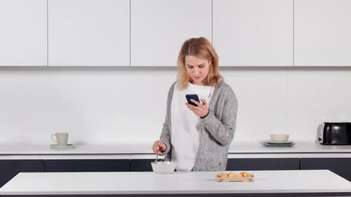 Female Messaging Use Mobile at Home