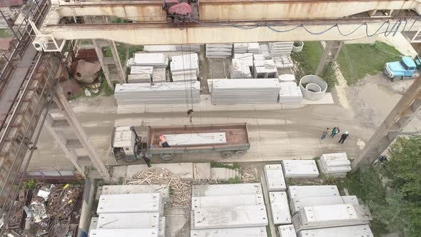 Thumbnail for Aerial of an overhead crane at a precast plant