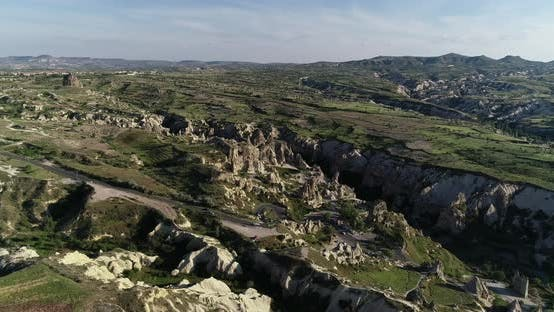 Cappadocia Hills And Towers Aerial View