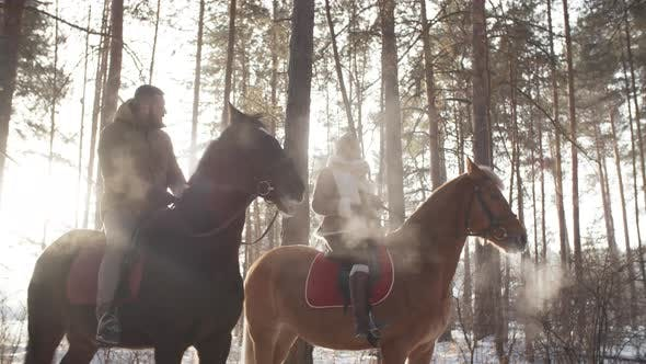 Thumbnail for Couple on Horses Talking in Winter Forest