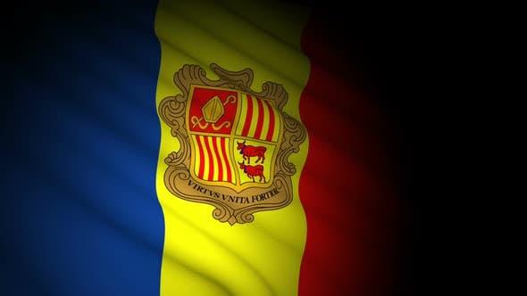 Andorra Flag Blowing in Wind