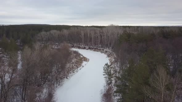 Thumbnail for Aerial View of Winter Forest in Russia