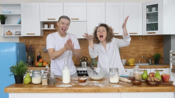 Thumbnail for Happy Couple Cooking In Kitchen, Happy Lifestyle Concept