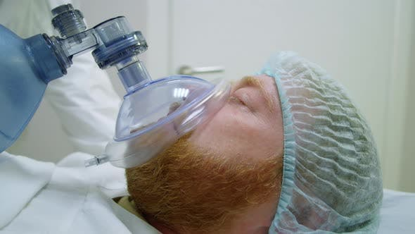 Emergency Patient Getting BVM Ventilation on Gurney
