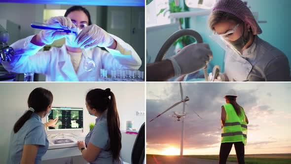 Collage Female Workers in Different Professions