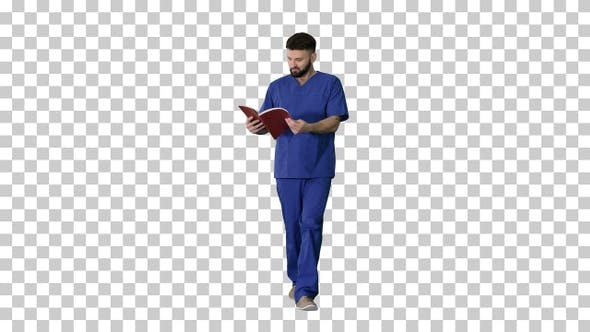Doctor reading medical journal while walking, Alpha Channel