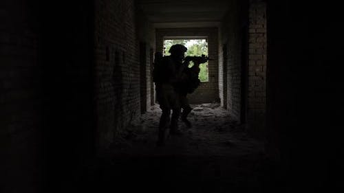 Squad of Marines in Action in Ruined Building