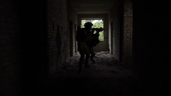 Thumbnail for Squad of Marines in Action in Ruined Building
