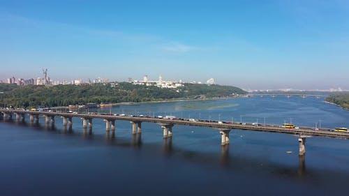 Wonderful Cityscape in Kiev near the Paton Bridge