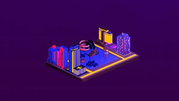 Isometric children's playground in the middle of the city