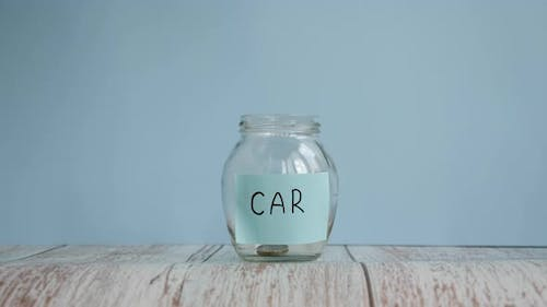 Saving money for buy car. Planning budget concept. Money saved for car in jar