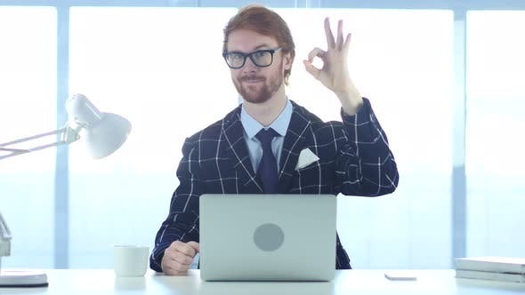 Thumbnail for Redhead Businessman with Satisfaction Gesture at Work, Okay