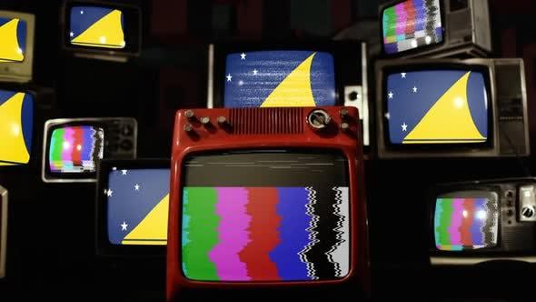 Tokelau flag and Stack of Retro TV.