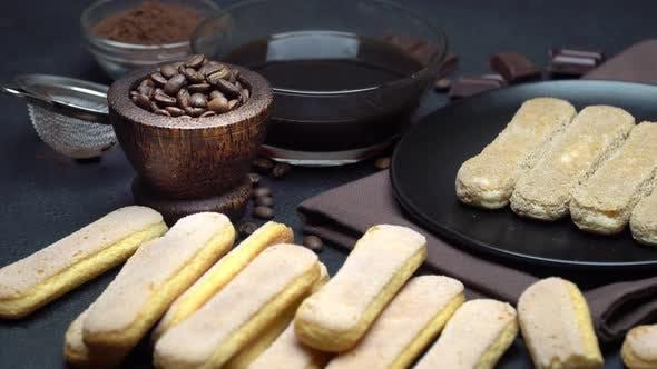 Thumbnail for Tiramisu Cake Cooking - Italian Savoiardi Ladyfingers Biscuits and Coffee
