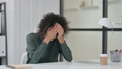 Anxious African Woman Feeling Worried