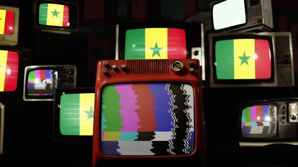 Flag of Senegal and Stack of Retro Television.