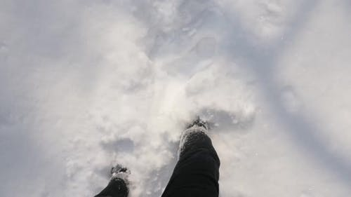 Outdoor winter trekking slow-mo 1920X1080  HD video - POV scene with hiker boots in the high snow sl