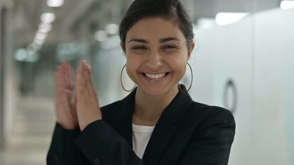Excited Indian Businesswoman Clapping