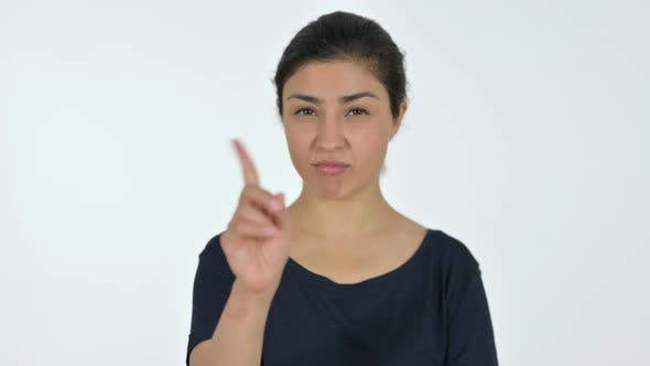 Thumbnail for Indian Woman No Sign By Finger, White Background