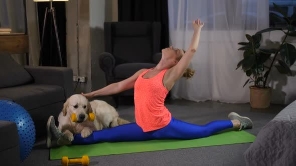 Thumbnail for Flexible Woman Doing Stretching Sitting on Split