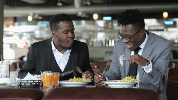 Thumbnail for Young African Men Friends Eating Business Breakfast, Fried Potatoes with Meat
