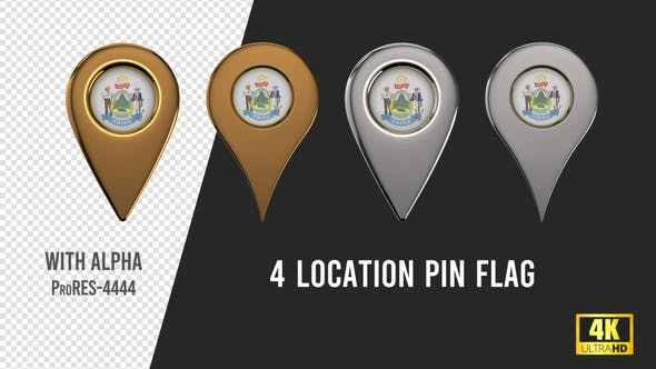 Thumbnail for Maine State Seal Location Pins Silver And Gold