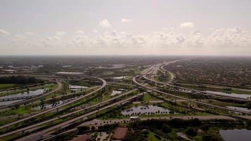 Highway Interchange Sunrise Fl 595 I75 Expressway Aerial Flyover