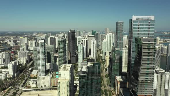 Highrise towers Brickell Miami shot with drone 4k