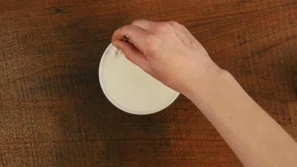 Thumbnail for Barista Preparing Cappuccinno Latte Art Coffee in To White Cup