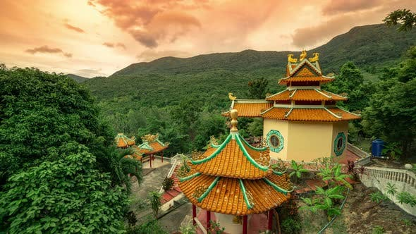 Thumbnail for Beautiful Chinese Temple in Thailand at Sunset Time on the Background of Mount Khao Ra on Koh