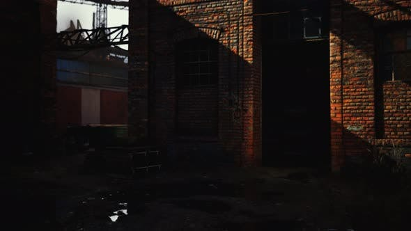 Abandoned Industry Buildings at Sunset