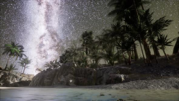 Beautiful Fantasy Tropical Beach with Milky Way Star in Night Skies