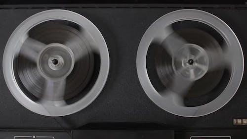 Old Reel Tape Recorder Rewind Tape