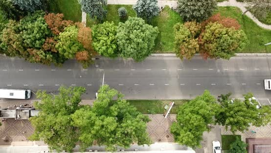 Thumbnail for Aerial Top Down View of Traffic Jam on a Car Road and Park.