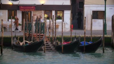 Evening city life in Venice