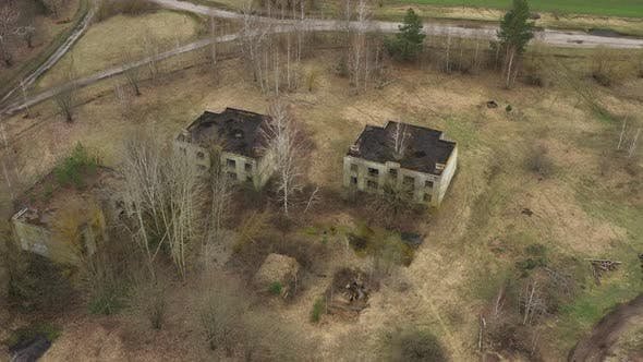 Aerial View Of Abandoned Village Houses House In Chernobyl Zone