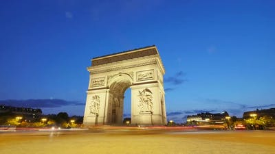 Arch of Triumph of Paris in the Champs Elysees at Sunset