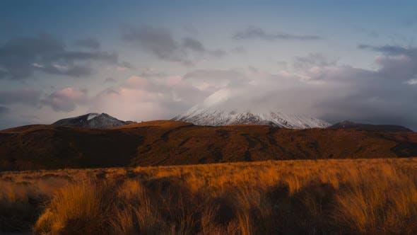 Mount Doom in sunset timelapse