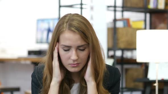 Thumbnail for Headache, Frustration, Tension, Stressed Girl at Work in Office