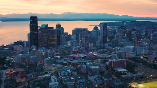 Seattle Washington Aerial Skyline At Night Sunset Moody Sky Metropolis Urban Cityscape