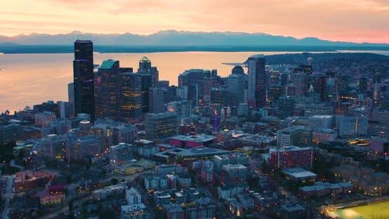 Thumbnail for Seattle Washington Aerial Skyline At Night Sunset Moody Sky Metropolis Urban Cityscape