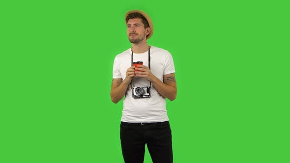 Thumbnail for Confident Guy Is Enjoying Coffee. Green Screen